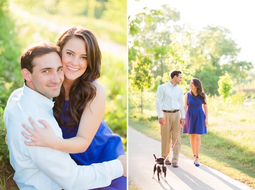 engaged couple walking dog
