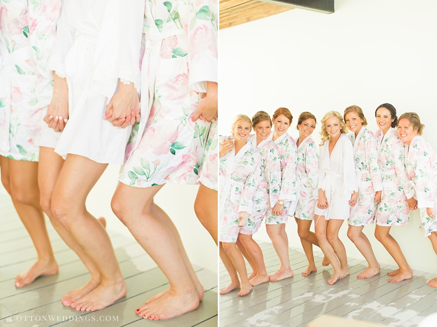 white light pink bridesmaids robes photo