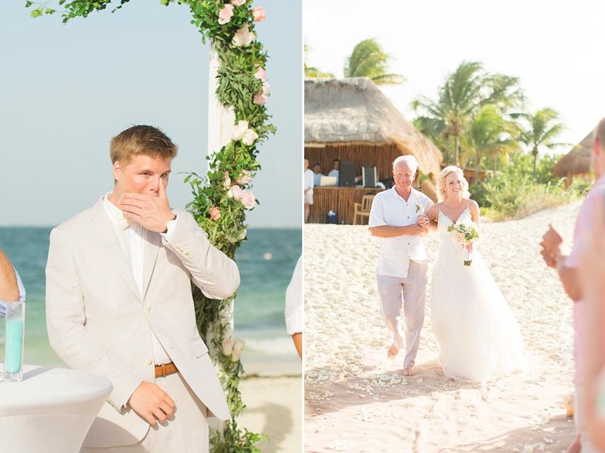 groom crying watching bride walk down the aisle beach wedding