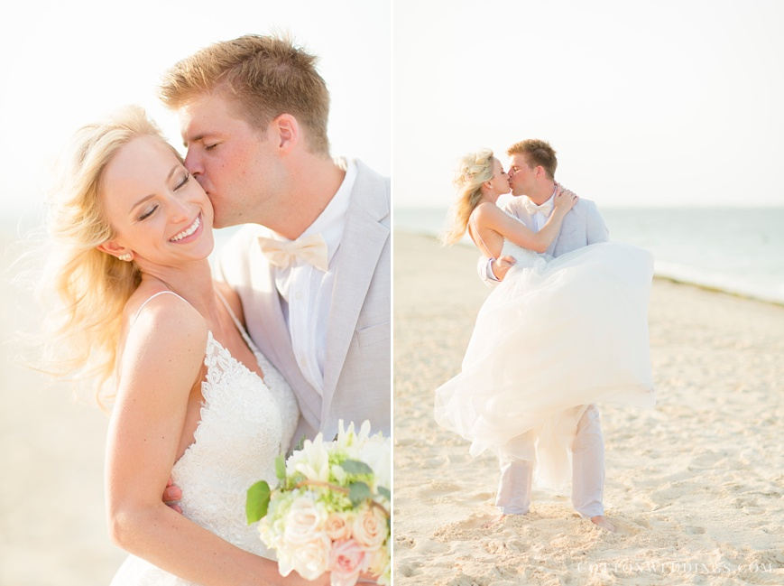 sunny portrait of bride and groom on the beach