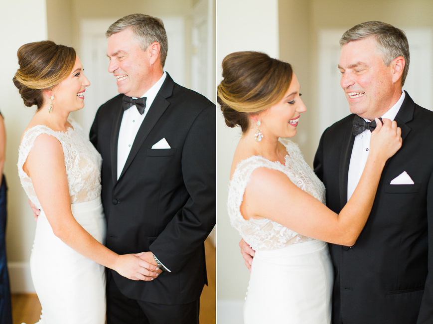 sweet photo of bride helping father with bowtie