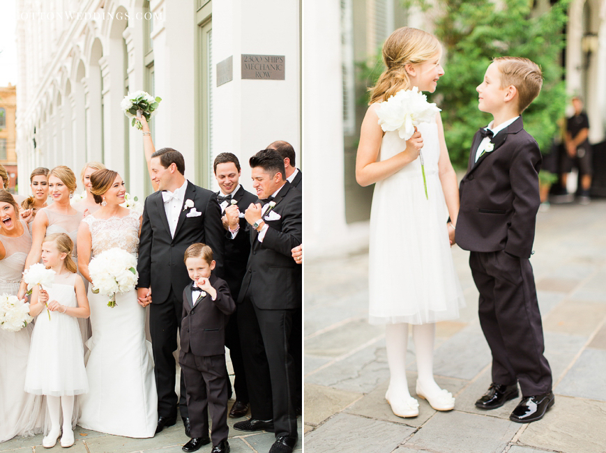 fun bridal party adorable flower girl and ring bearer holding hands