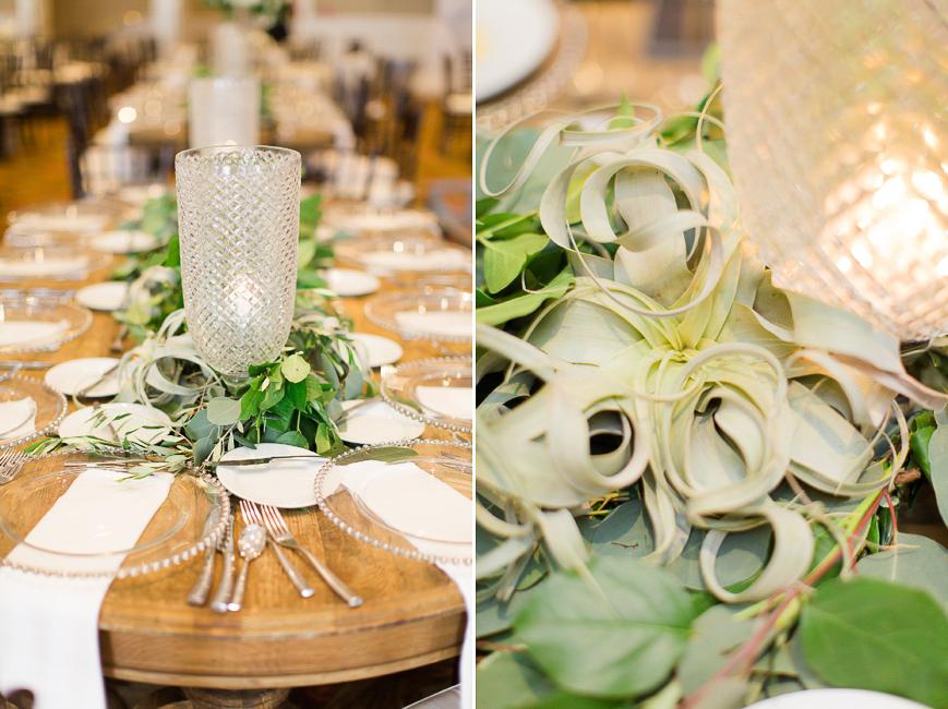 eucalyptus air plant reception table arrangements
