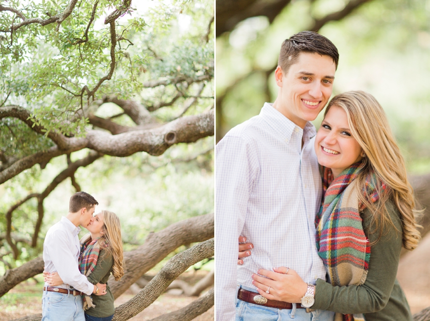 cute couple under century tree at texas a&m