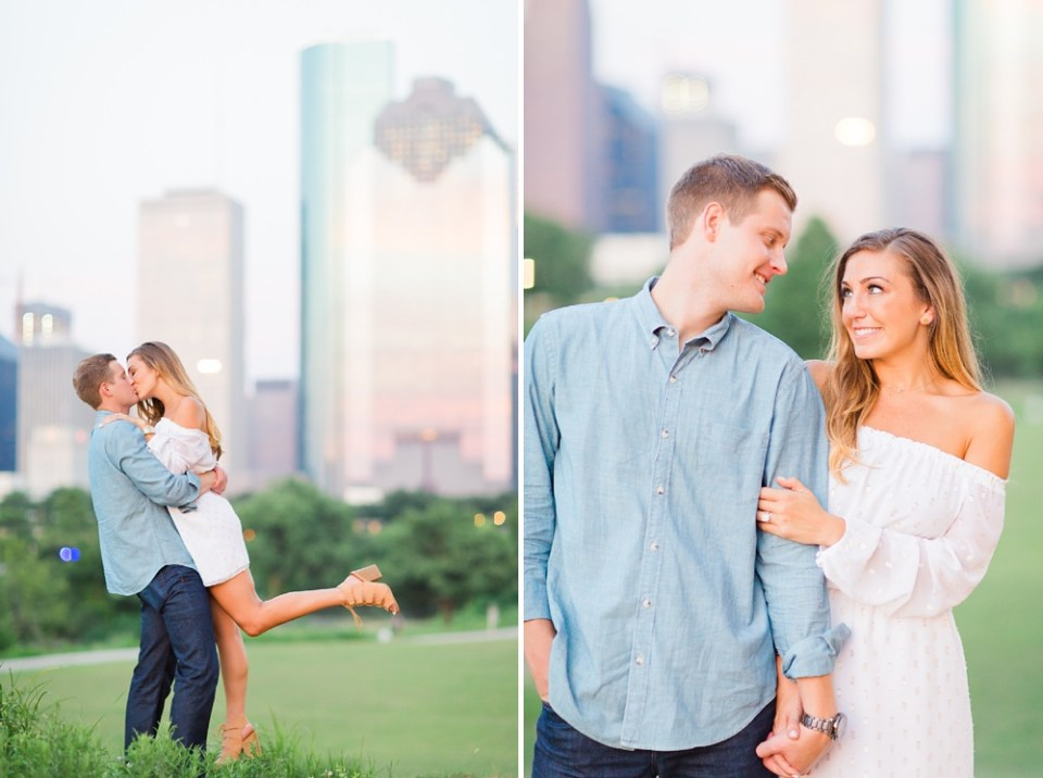 houston skyline engagement portraits