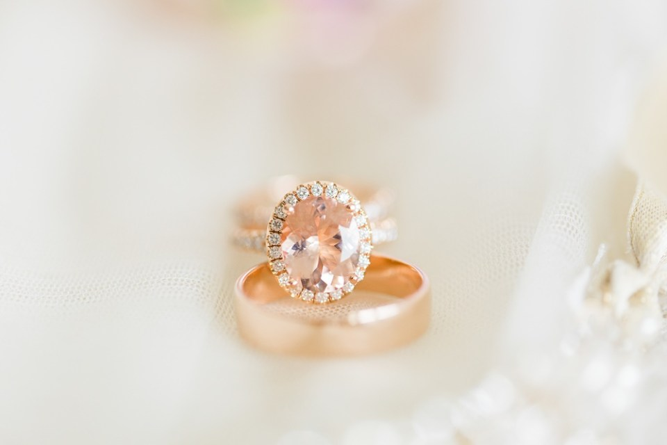 rose gold wedding ring champagne diamond