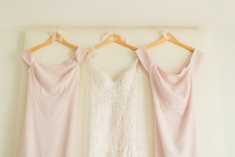 blush wedding dress and bridesmaid dresses