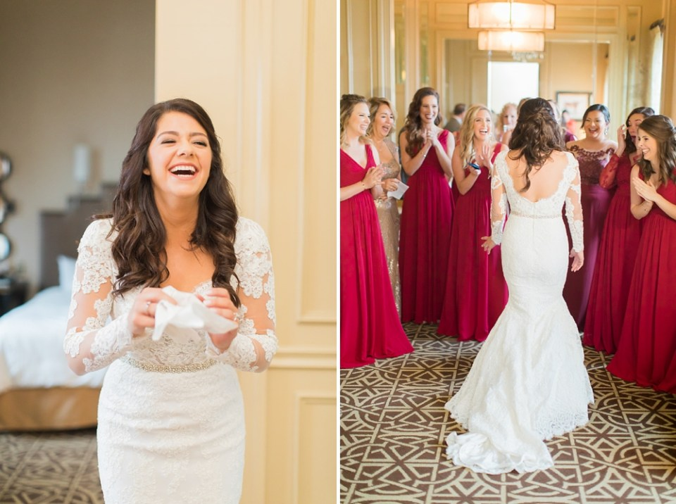 The Corinthian Wedding Bride and Bridesmaids First Look by Cotton Collective