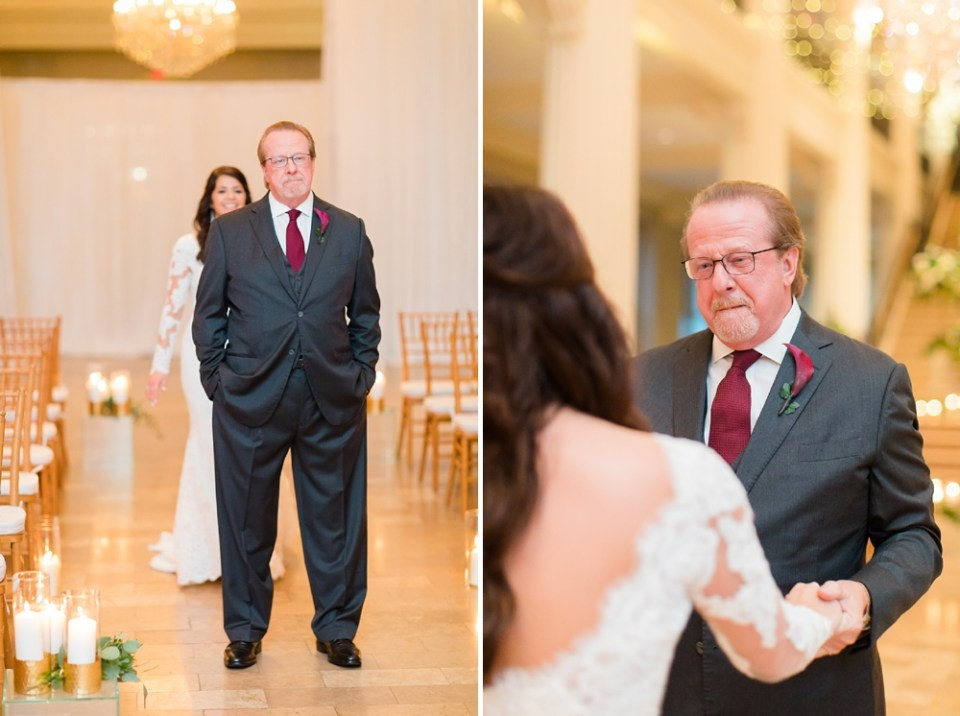 The Corinthian Wedding Bride and Father First Look