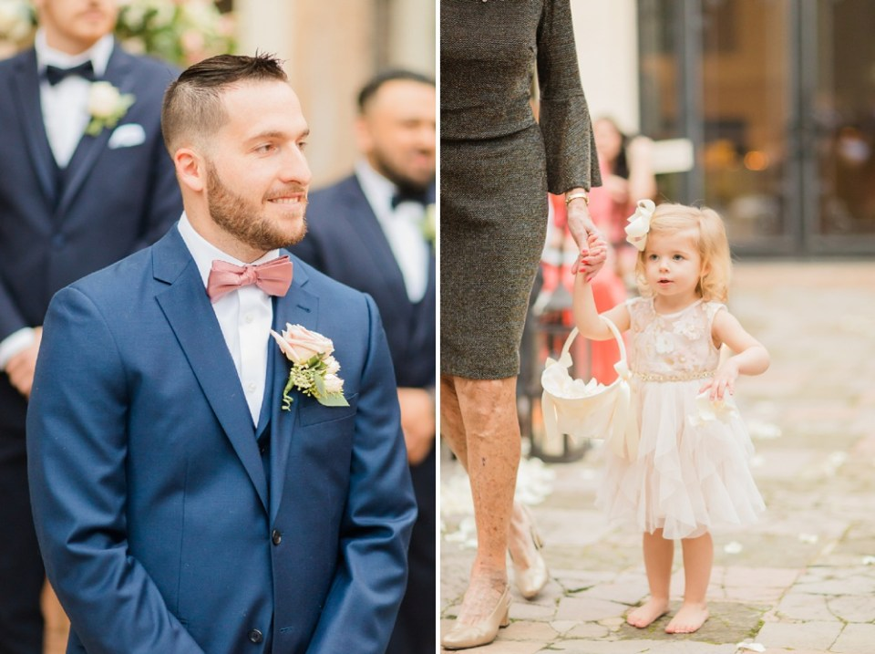 groom and flower girl at ceremony