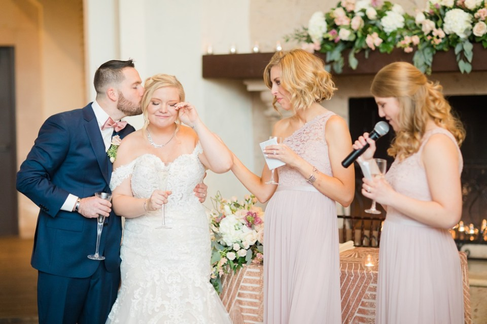 wedding toast at reception