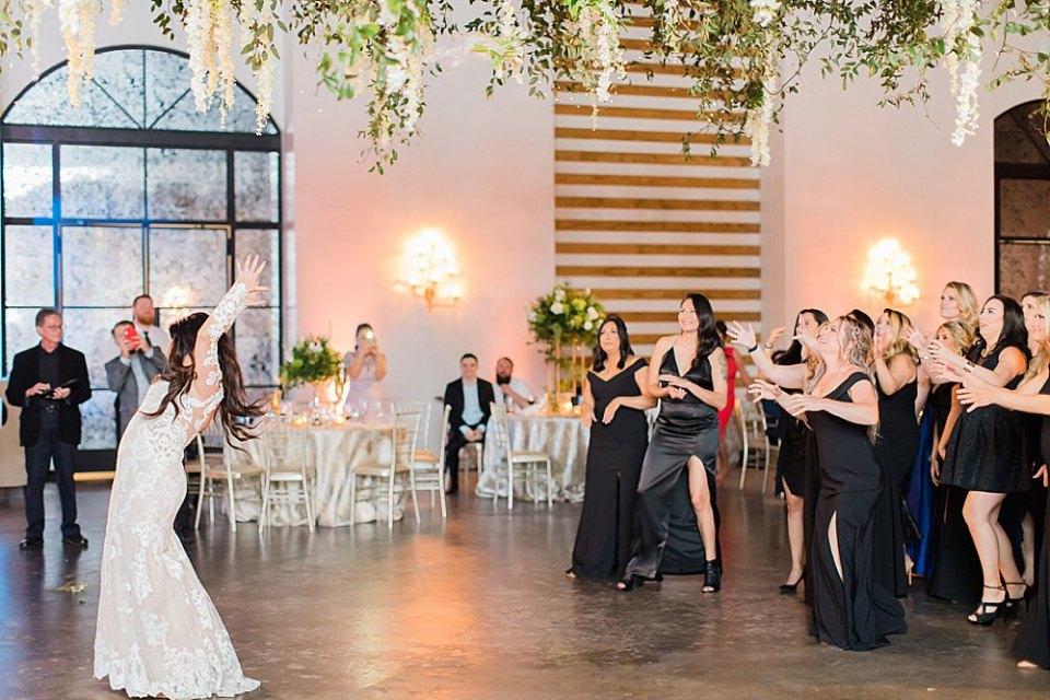 bride bouquet at wedding reception