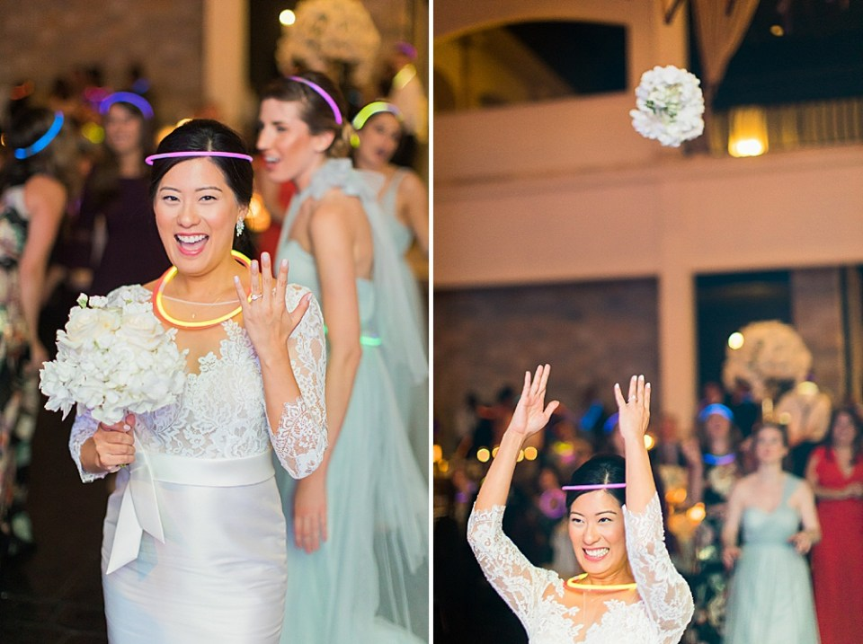 bride and bouquet toss