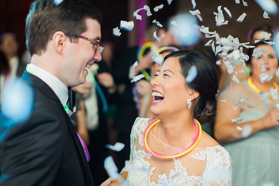 confetti drop at wedding reception