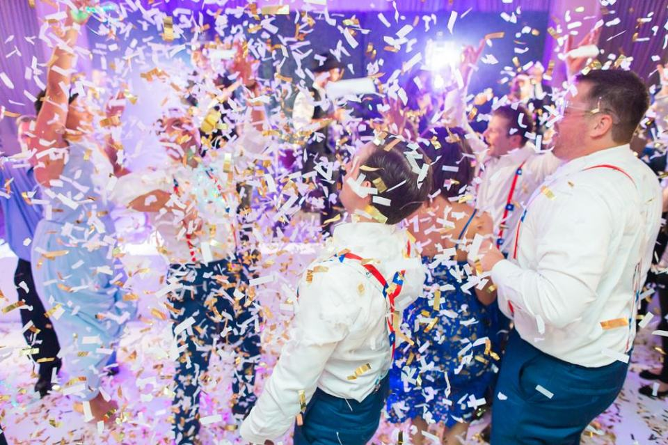 wedding confetti at reception