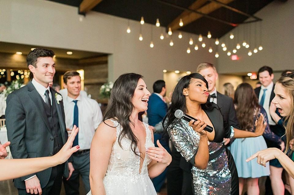 bride and band wedding reception