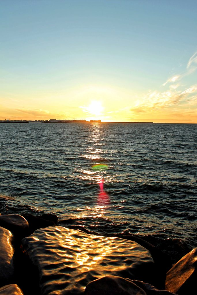 Sunset on Icelands sea