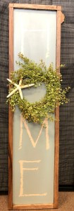 Hand Painted Wooden HOME Sign with wreath and starfish