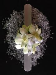 Wrislet on slap band with white orchids and bling