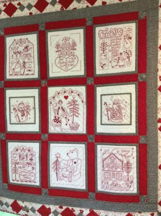 Red, white and gray stitching!