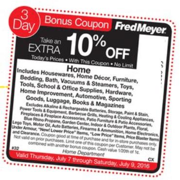 Fred Meyer Sidewalk Sale 10 Off Home Bonus Coupon