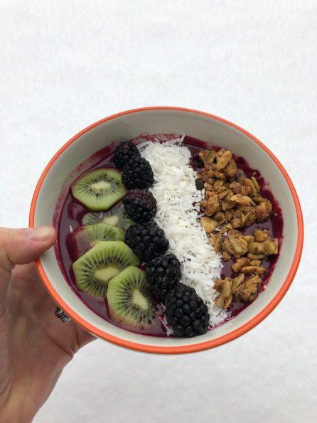 acai-blueberry-beet smoothie bowl