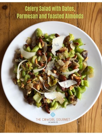 celery salad with sates, Parmesan and toasted almonds