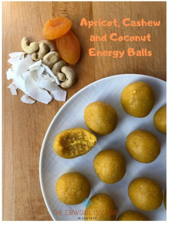Apricot, cashew and coconut energy balls