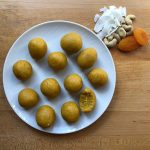 apricot balls plated
