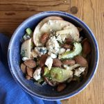 Celery salad with apples, blue cheese and almonds
