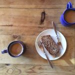 Banana bread with coffee and tea