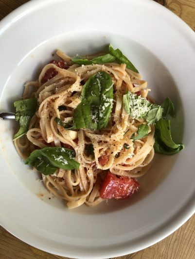 Summer garden pasta plated