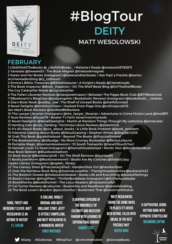 Deity BT Poster - Deity by Matt Wesolowski | Blog Tour Review