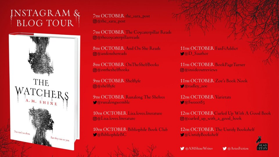 Shine THE WATCHERS blog tour banner with icons scaled - Blog Tour Review: The Watchers by A.M. Shine