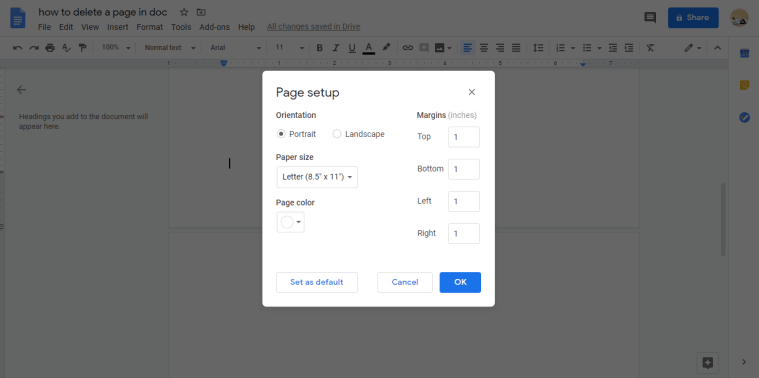 How to delete a page in Google Docs adjust the margins