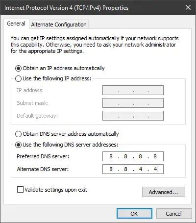 Obtain DNS Server Addresses Manually