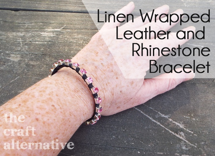 Linen Wrapped Leather and Rhinestone Bracelet DSCF2411
