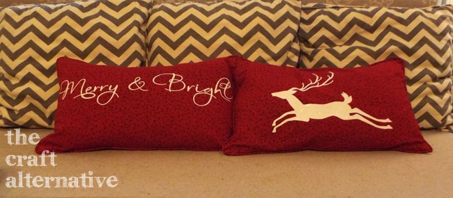 Easy to Make Holiday Pillow Covers_Sofa