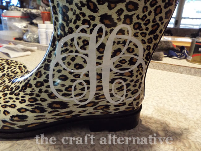 How to Add a Monogram and Ribbon to a Pair of Rain Boots_Monogram Applied