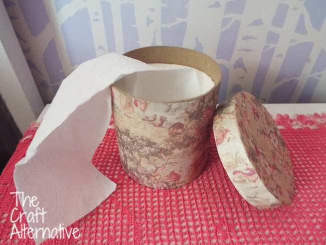 DIY Decoupage Tissue Box-Completed