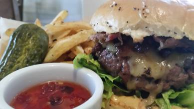 Gourmet Burger and fries from our amazing street food kitchen