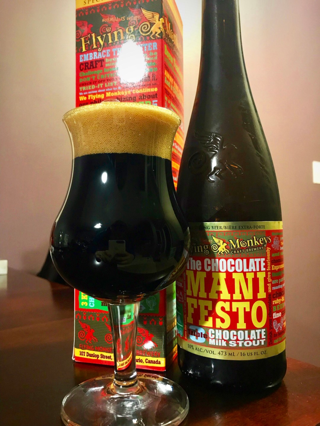 The Chocolate Manifesto is one of the more unusual and delightful Flying Monkeys creations. With three different types of chocolate incorporated in the brewing process, this is definitely a decadent product, despite the hefty 10% ABV.