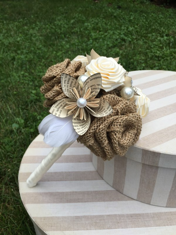 Burlap, Book Page & Ribbon Bouquet