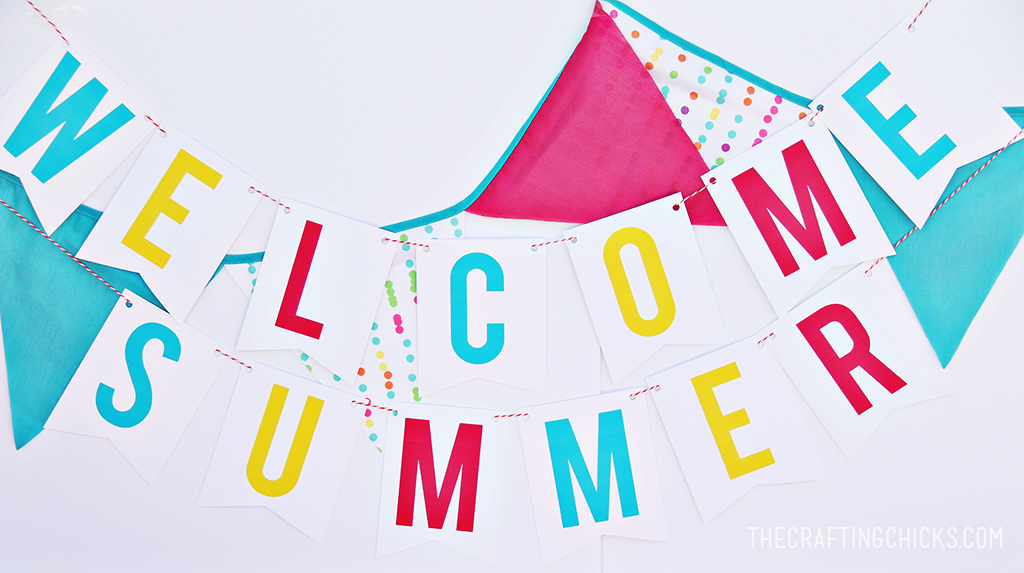 Welcome Summer Banner Free Printable via Crafting Chicks