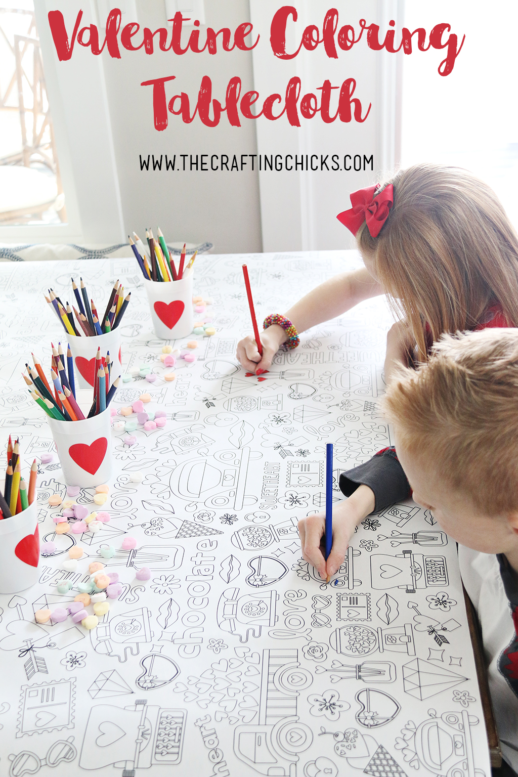 Valentine S Day Coloring Tablecloth