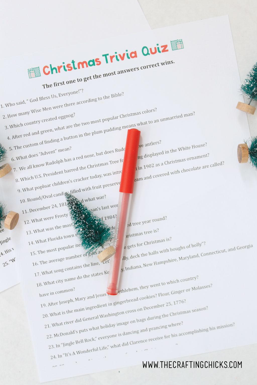 Christmas Trivia Quiz Free Printable
