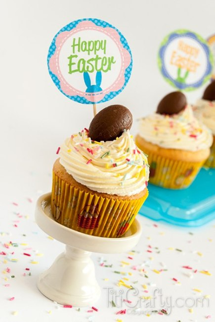 Almond-White-Chocolate-Cupcakes-with-Cadbury-Creme-Eggs-Toppers