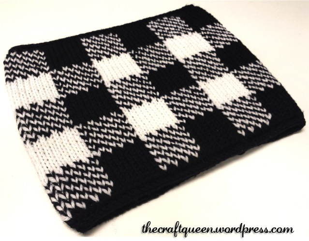 57. Knitting: Double Knit Gingham Neck Warmer (free pattern!) (2/3)