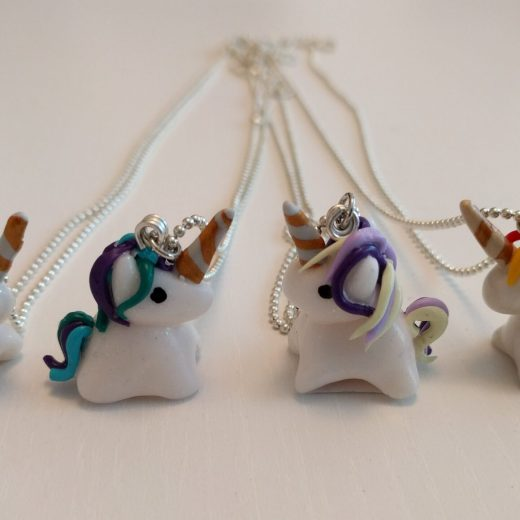 Four fimo unicorn necklaces