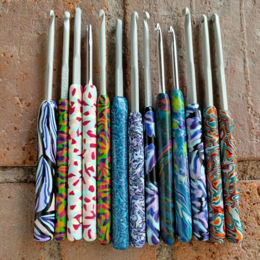 Fimo handle crochet hooks